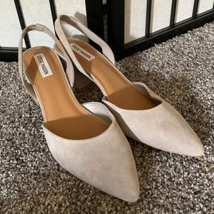 Steve Madden grey slingback block heel suede 11